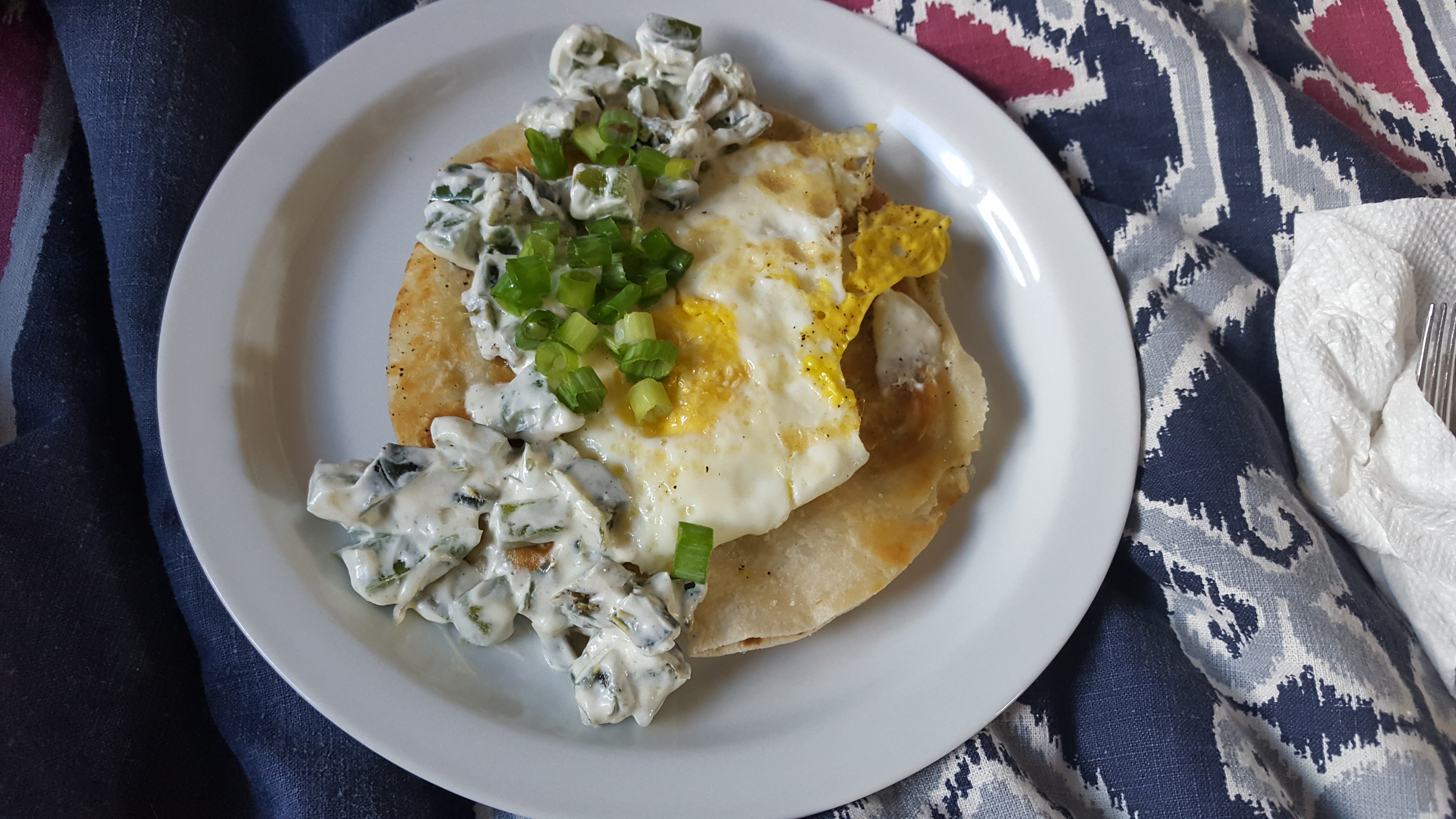 Blue Apron meal cooked by me- cheese quesadilla with a fried egg and poblano pepper sauce.