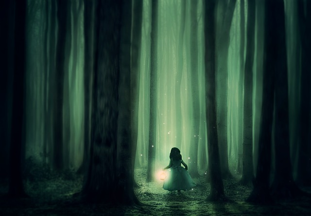 Illustration of a little girl in a white dress holding a lantern at night in the middle of a forest, surrounded by fireflies and tall trees with no branches.