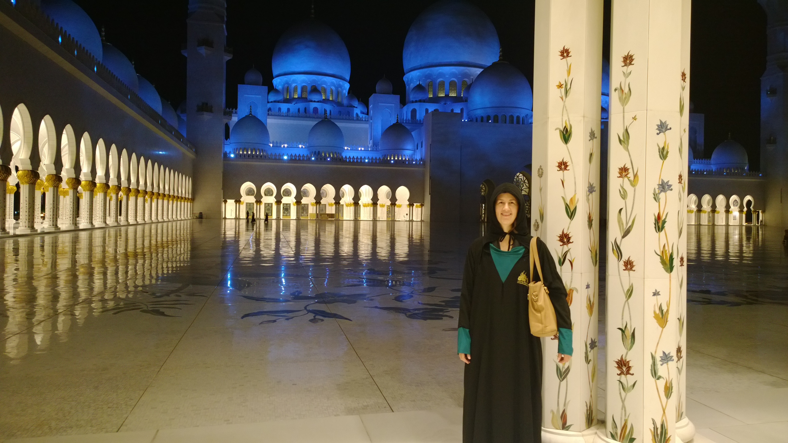Me at the Grand Mosque in Abu Dhabi